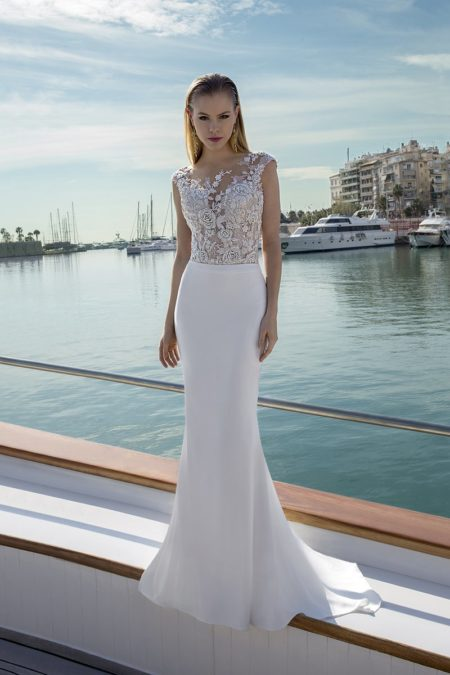 DR285T Bodysuit with DR267S Skirt from the Demetrios Destination Romance 2019 Bridal Collection