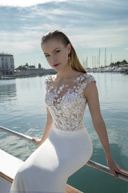 Detail on DR285T Bodysuit with DR267S Skirt from the Demetrios Destination Romance 2019 Bridal Collection