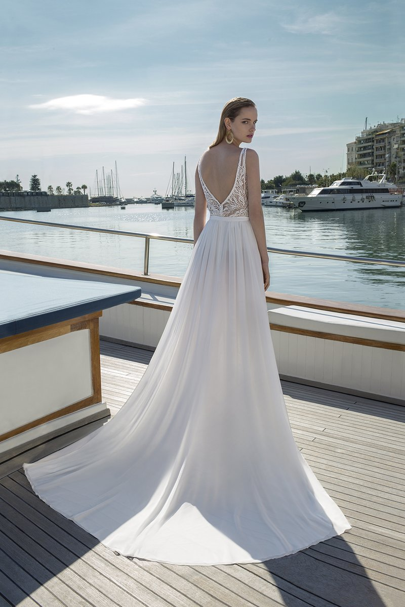 Back of DR286T Bodysuit with DR271S Skirt from the Demetrios Destination Romance 2019 Bridal Collection