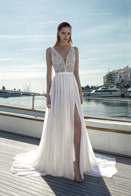 DR286T Bodysuit with DR271S Skirt from the Demetrios Destination Romance 2019 Bridal Collection