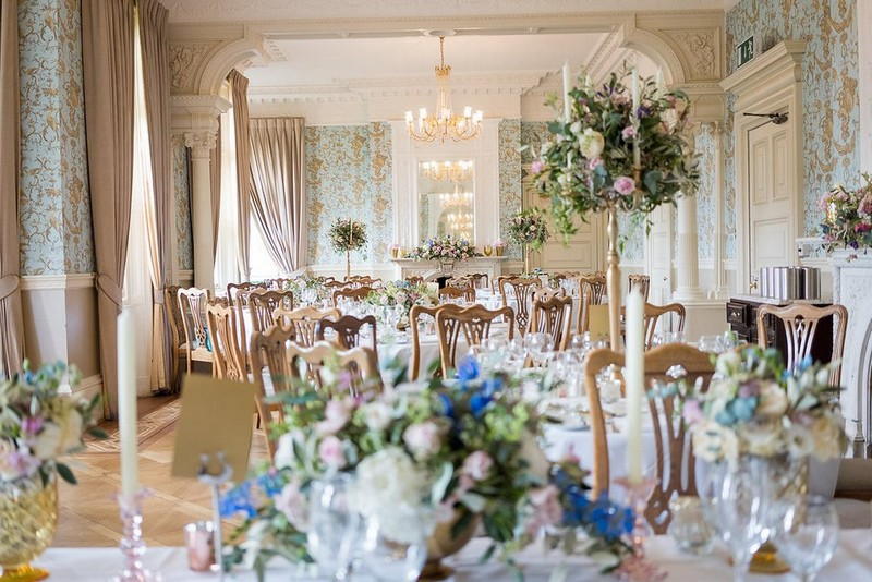 Elegant wedding tables with garden flowers at Pendley Manor