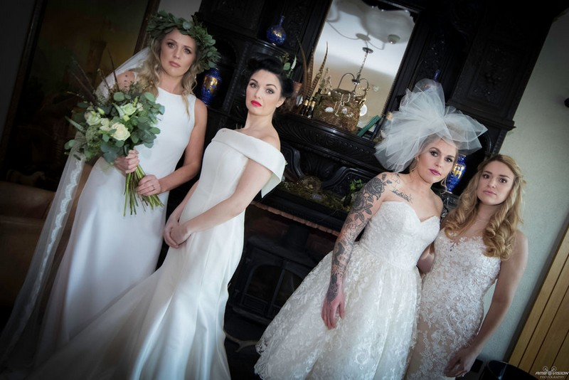 Four brides by fireplace at Lyth Valley Country Inn