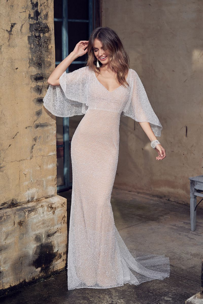 Wanda Wedding Dress with Draped Sleeves by Anna Campbell