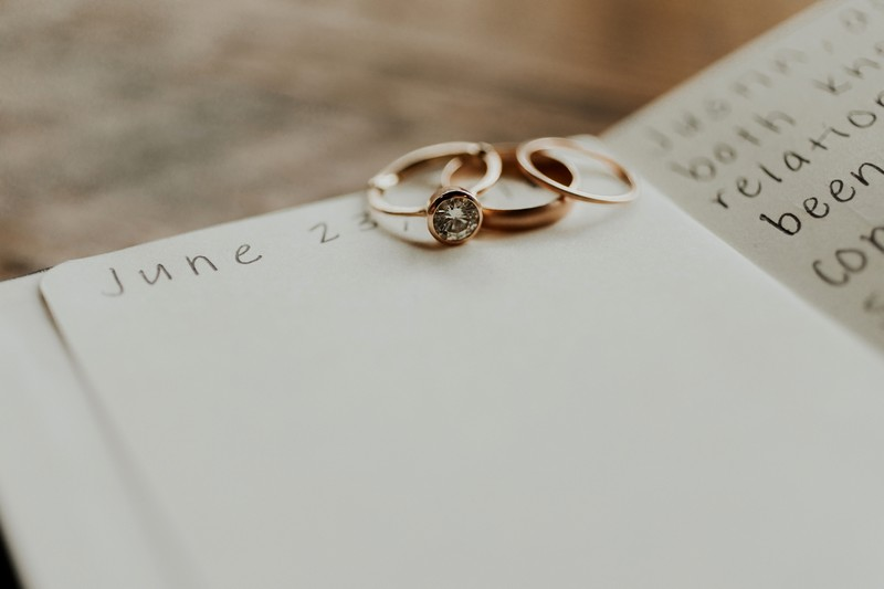 Wedding rings on top of wedding date in diary