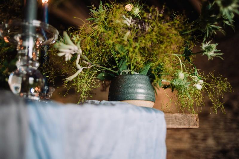 Pot of wild foliage