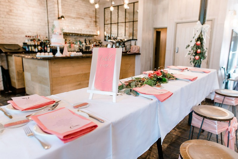 Bridal shower table styled with 2019 wedding trends