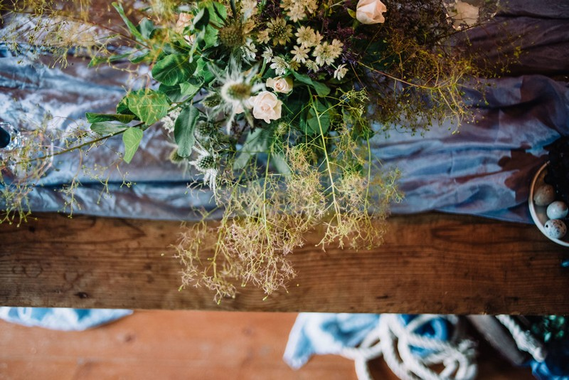 Wild wedding table flowers
