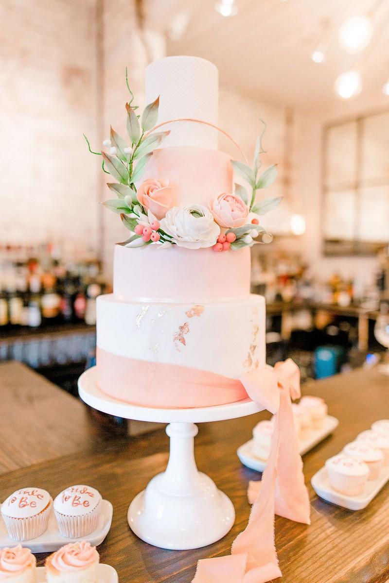 Coral coloured bridal shower cake