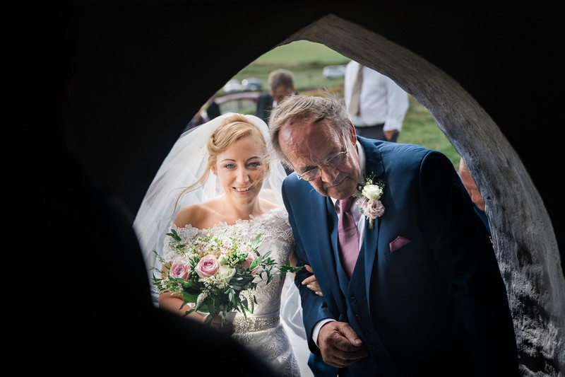Father about to lead bride into wedding ceremony - Picture by Darley & Underwood Photography
