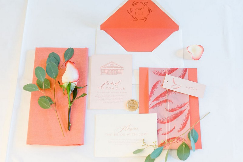 Bridal shower stationery in coral colour