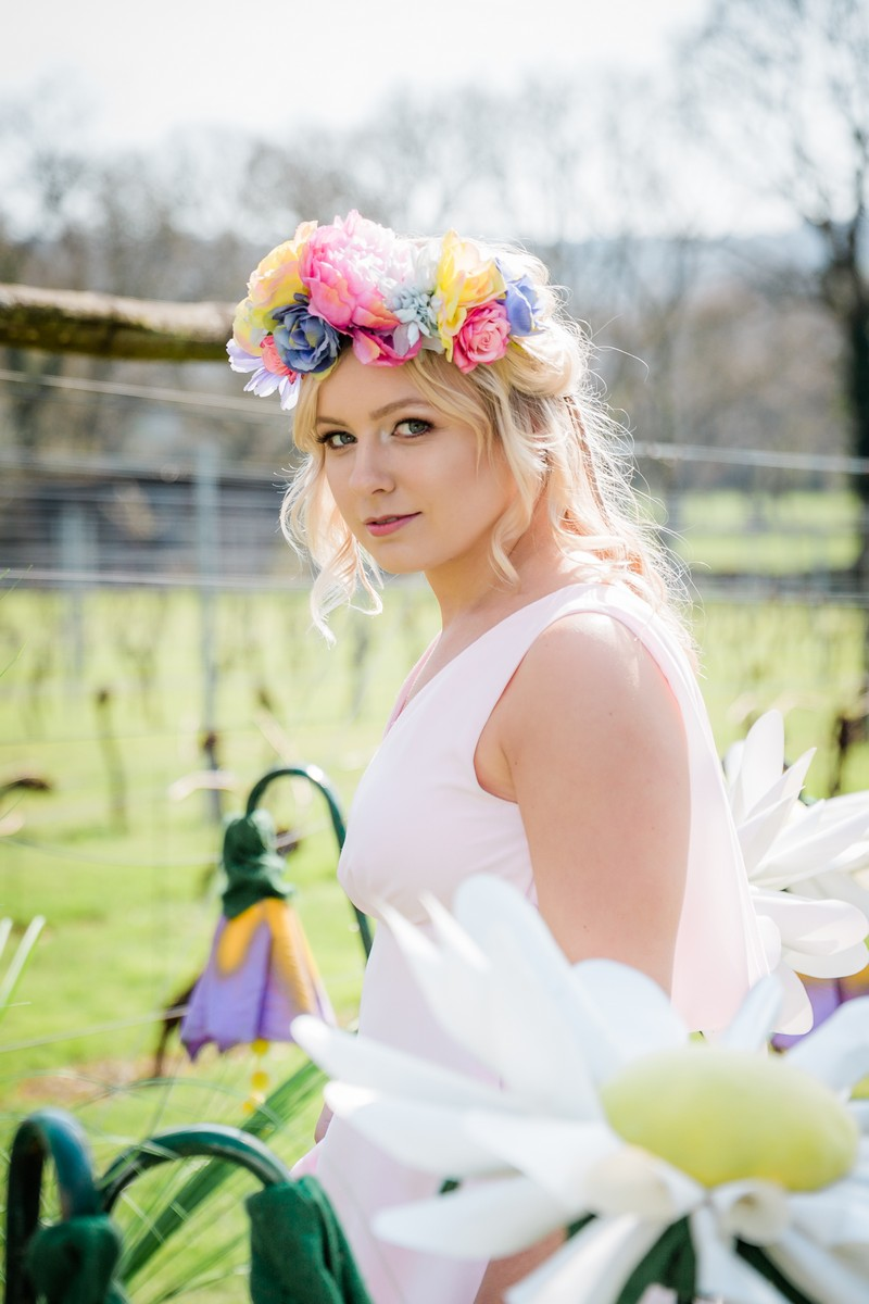Bridesmaid with colourful flower crown