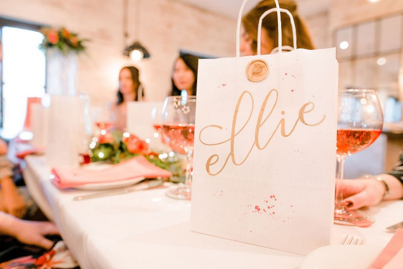 Personalised bridal shower bag on table