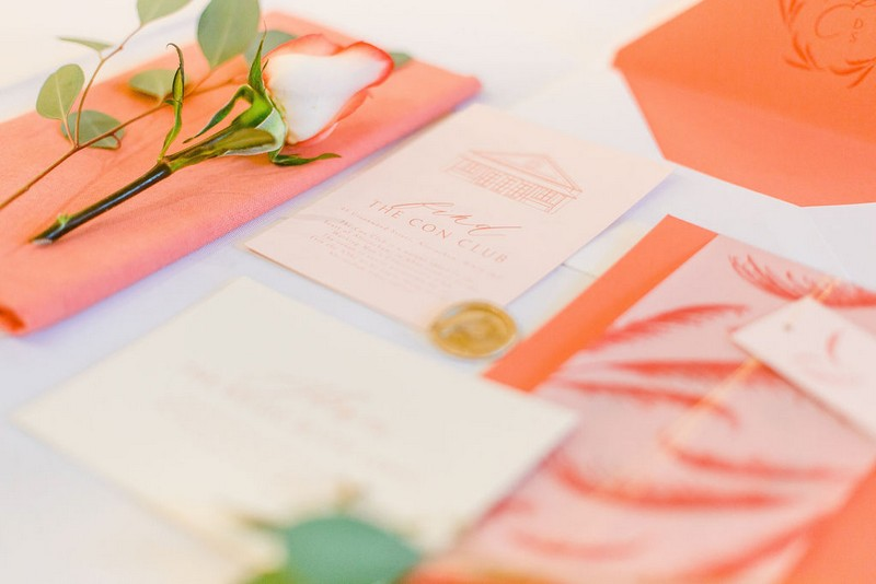 Coral coloured bridal shower stationery