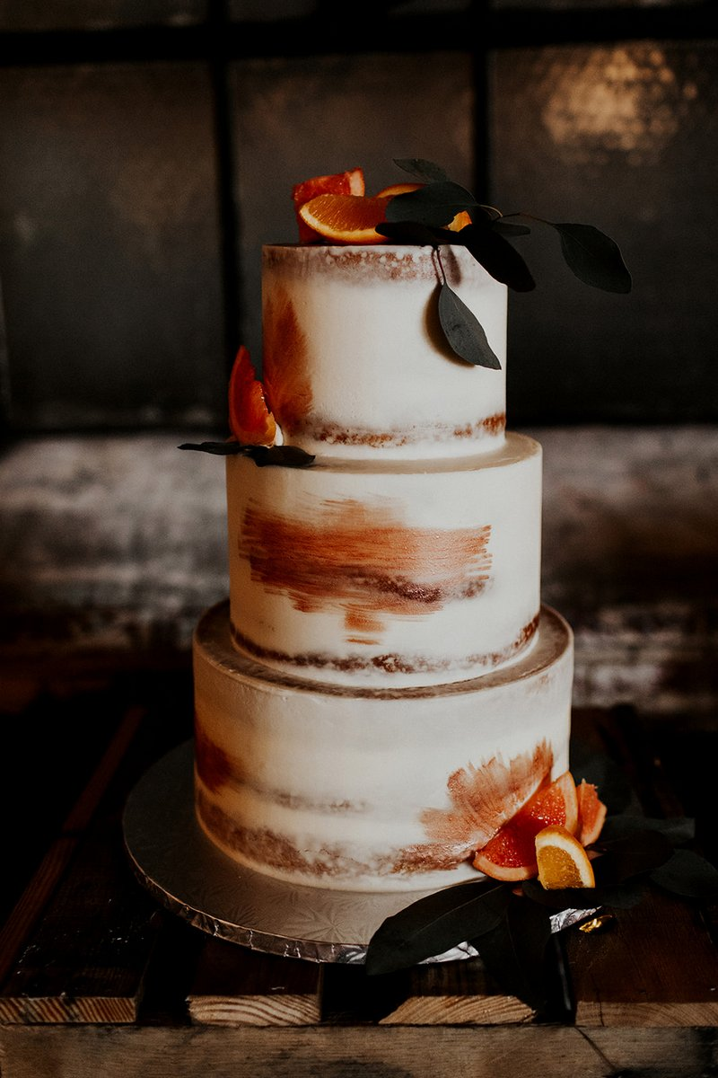 Wedding cake with copper and orange detail