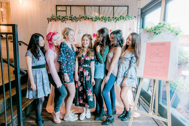 Girls posing for picture at bridal shower