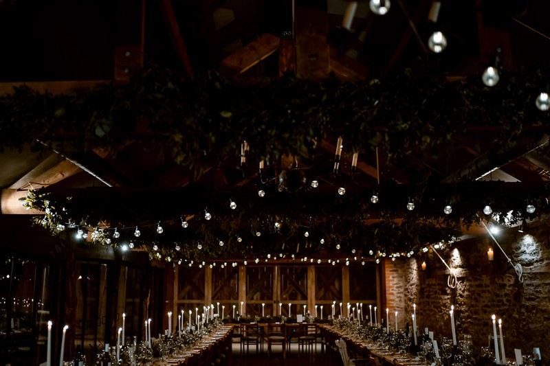 Foliage and lights on beam of The Wainhouse at Dewsall Court