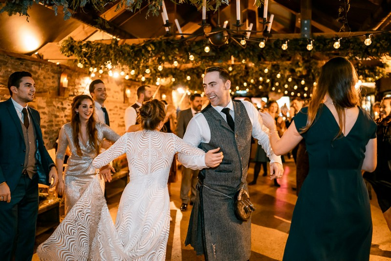 Bride and groom Irish dancing