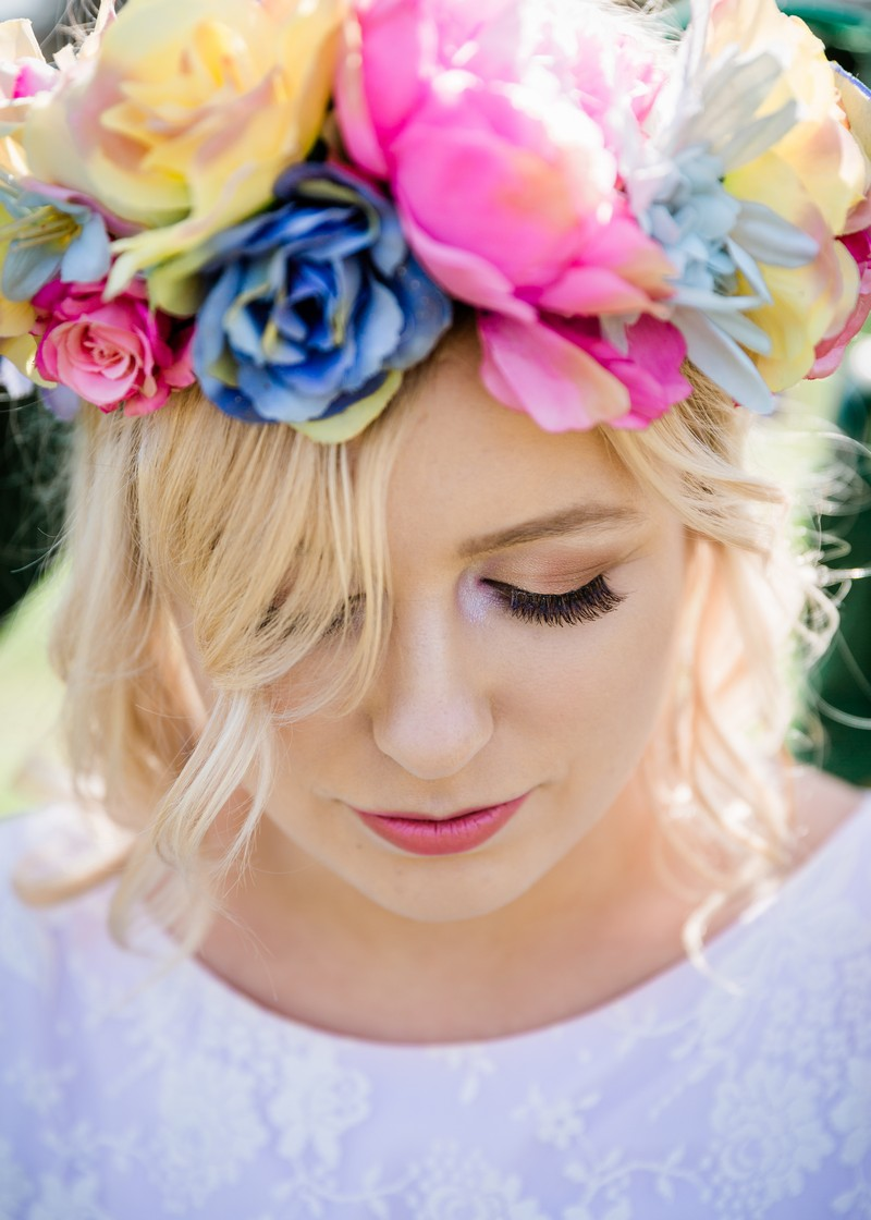 Bridesmaid with bright faux flower crown
