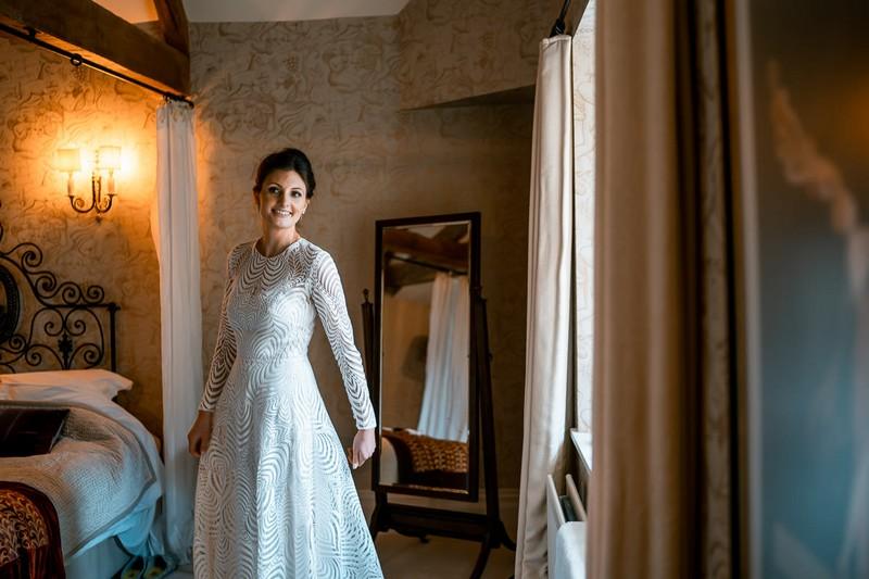 Bride wearing Margaux Tardits wedding dress