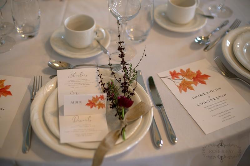 Autumnal wedding place setting