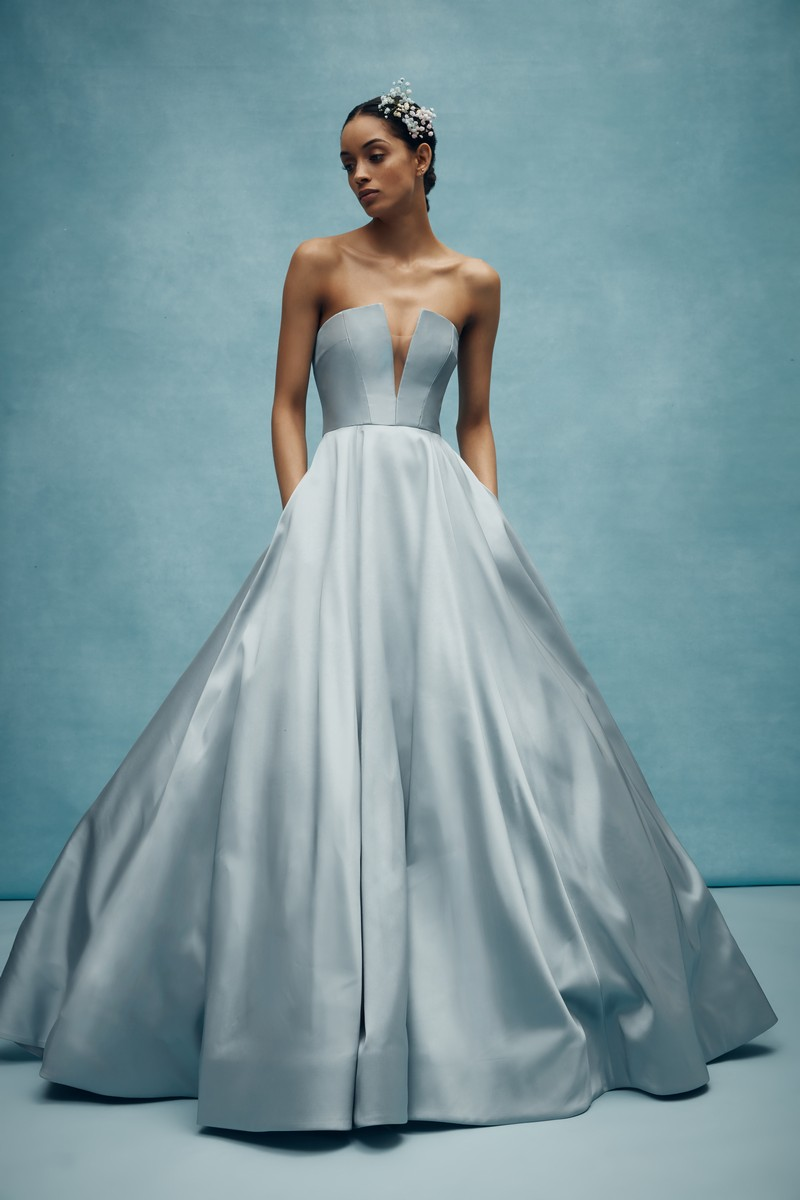 Emory Wedding Dress in Steel Blue from the Anne Barge Spring 2020 Bridal Collection