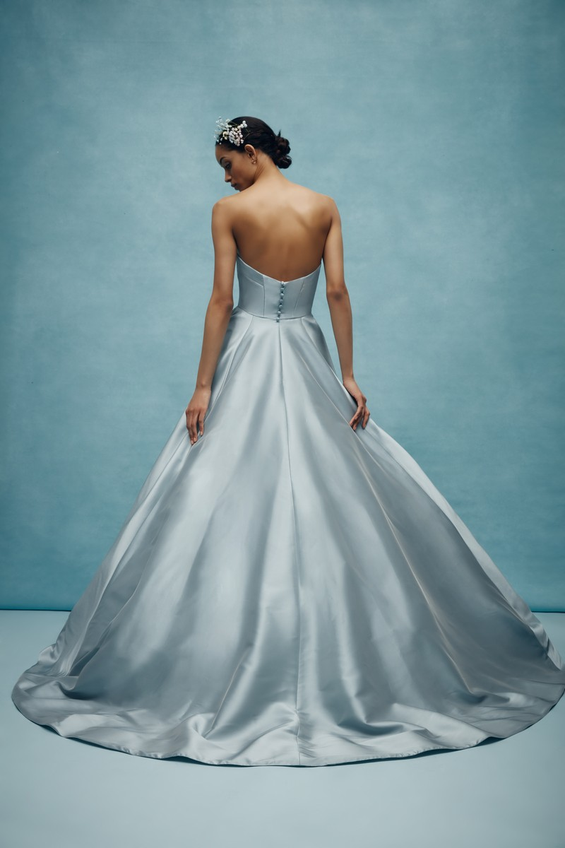 Back of Emory Wedding Dress in Steel Blue from the Anne Barge Spring 2020 Bridal Collection