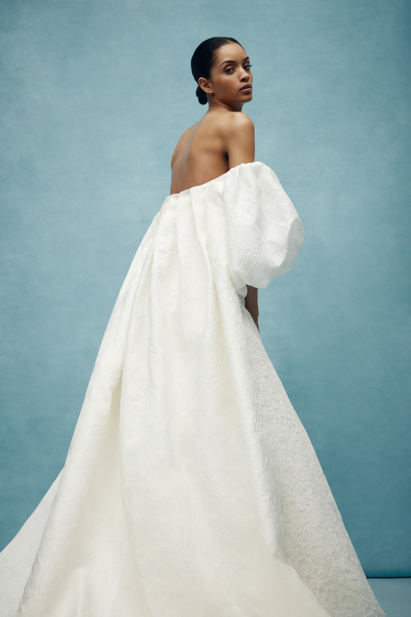 Back of Griffin Cape from the Anne Barge Spring 2020 Bridal Collection