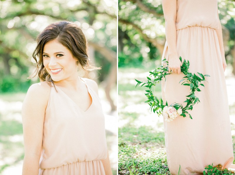 Bridesmaid in peach dress with foliage hoop