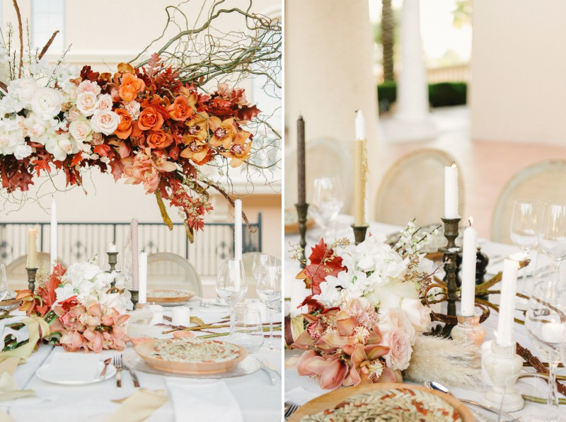 Elegant wedding table styling with autumnal flowers