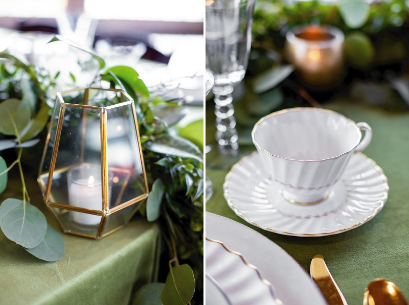 Gold geometric lantern and china cup on wedding table