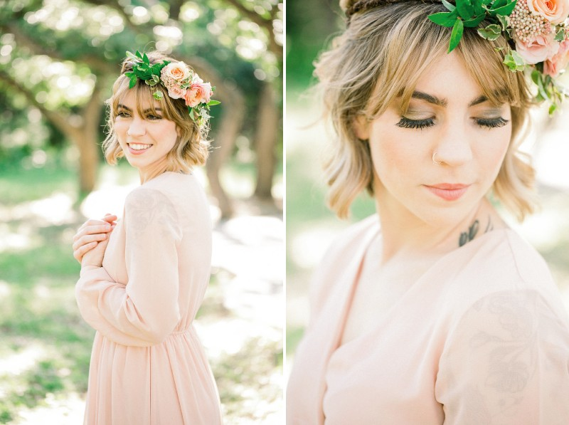 Bridesmaid wearing peach dress and flowers in her hair