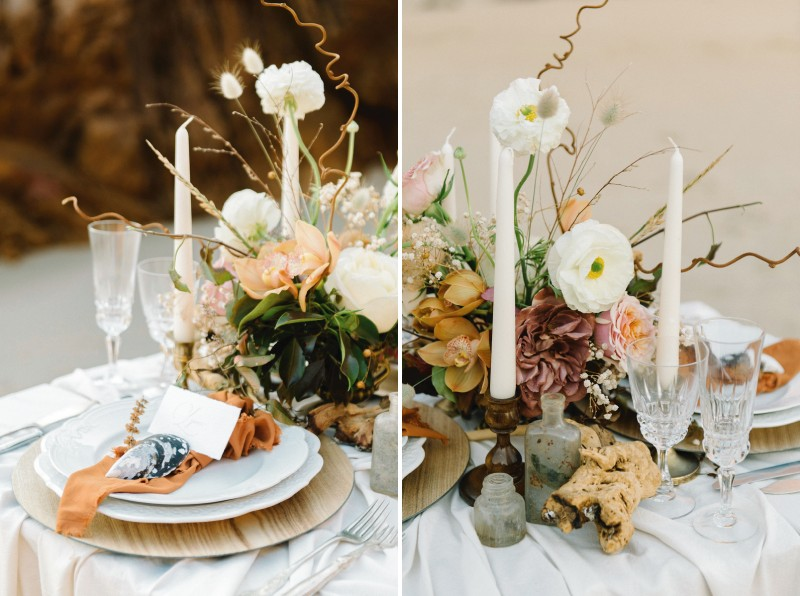 Wedding table with rustic styling