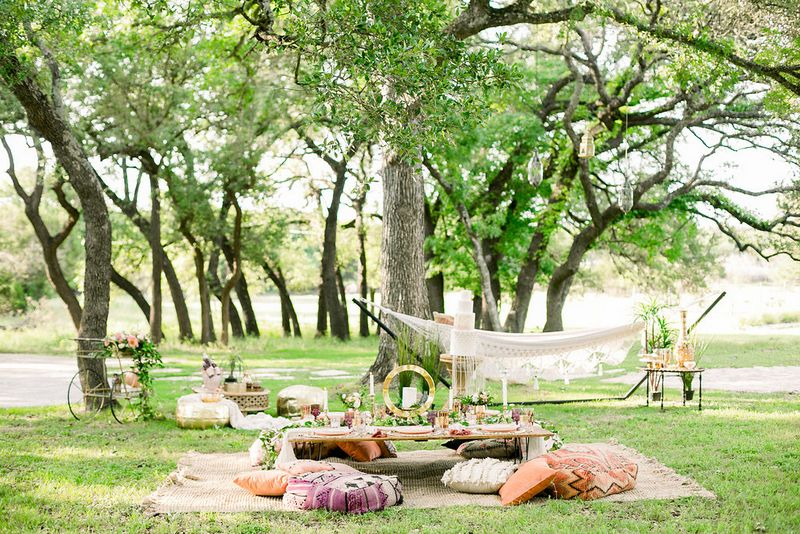 Moroccan styled outdoor areas for bridal shower