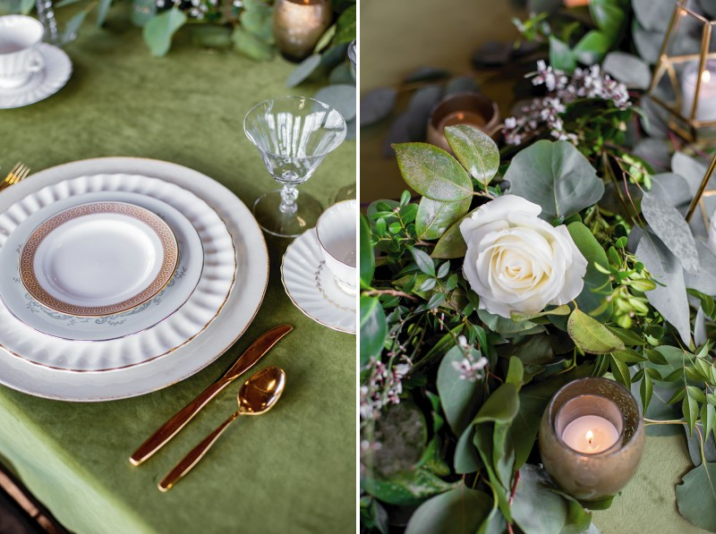 Wedding place setting and foliage table display