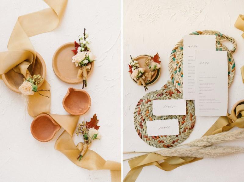 Pots, buttonholes, ribbon and woven table mats