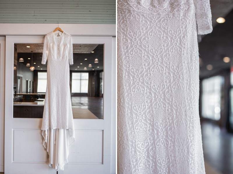Lillian West wedding dress with lace pattern detail