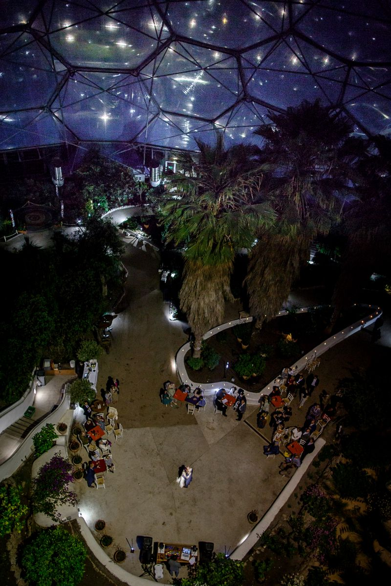 Picture taken from up high of bride and groom first dance at The Eden Project - Picture by Brian Robinson Photography