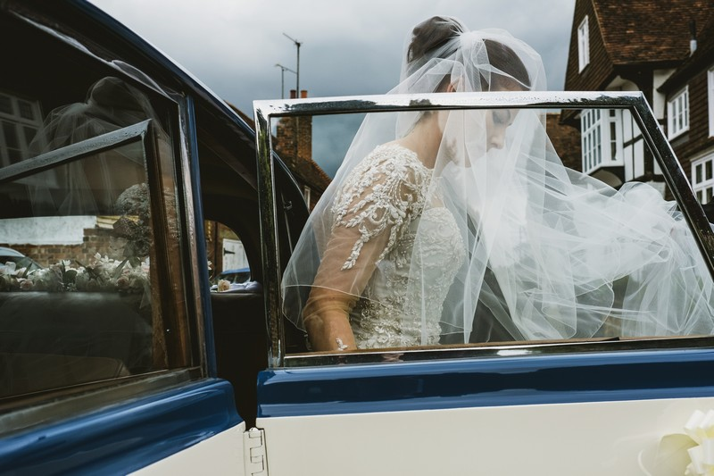 Bride getting out of wedding car - Picture by York Place Studios