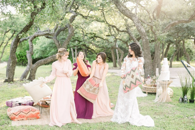 Pillow fight at bridal shower