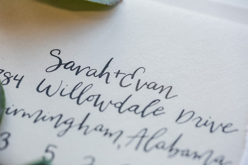 Hand-lettering on wedding stationery