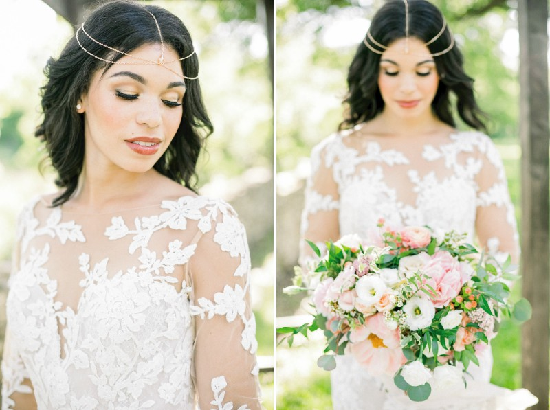 Bride-to-be wearing floral detailed wedding dress and head chain
