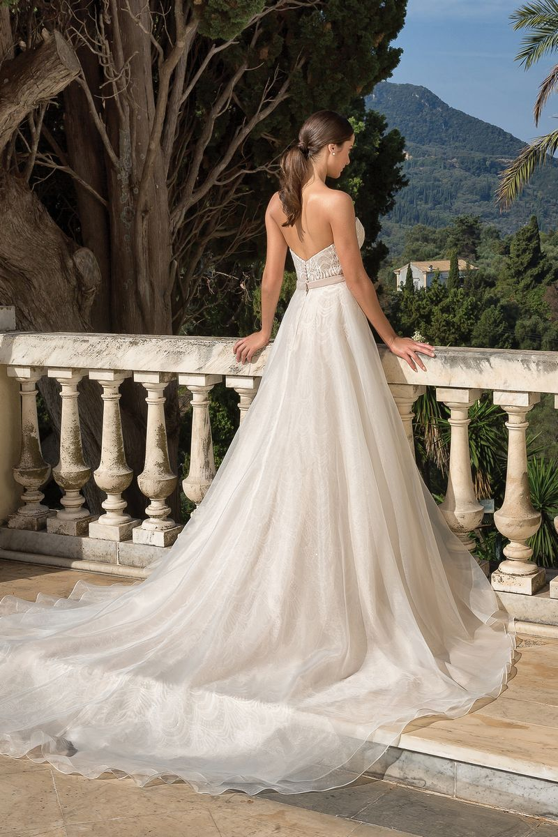 Back of Style 88085 Wedding Dress with Detachable Overskirt from the Justin Alexander Fall/Winter 2019 Bridal Collection