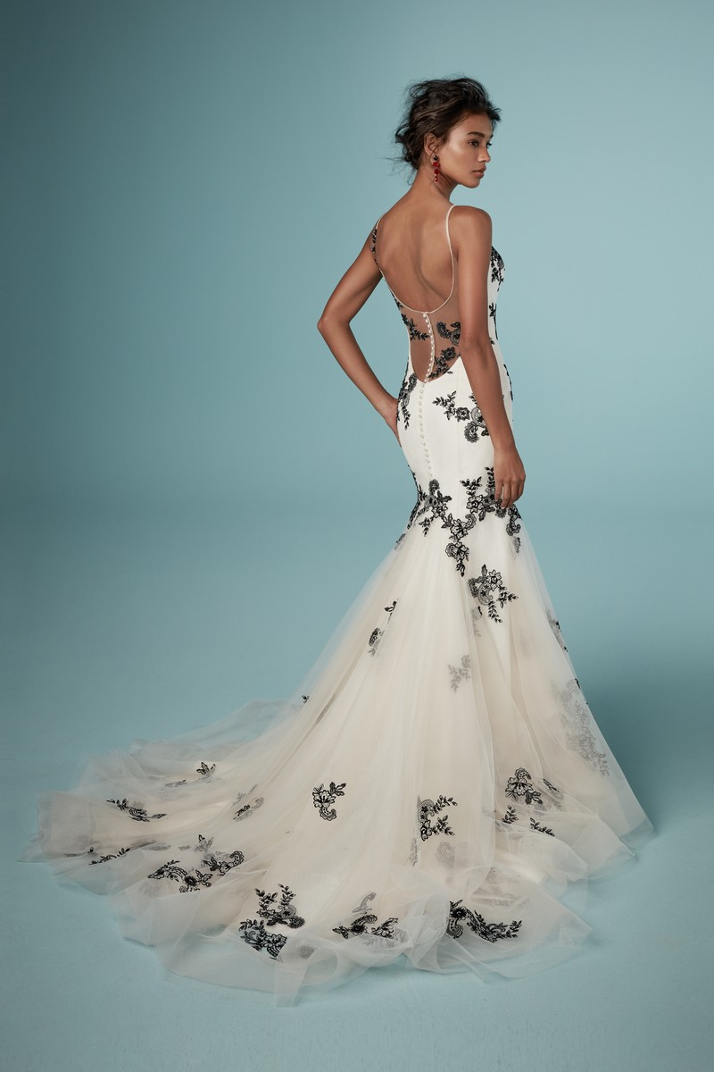 Back of Ally Wedding Dress in Black Over Antique Ivory from the Maggie Sottero Ambrose Fall 2019 Bridal Collection