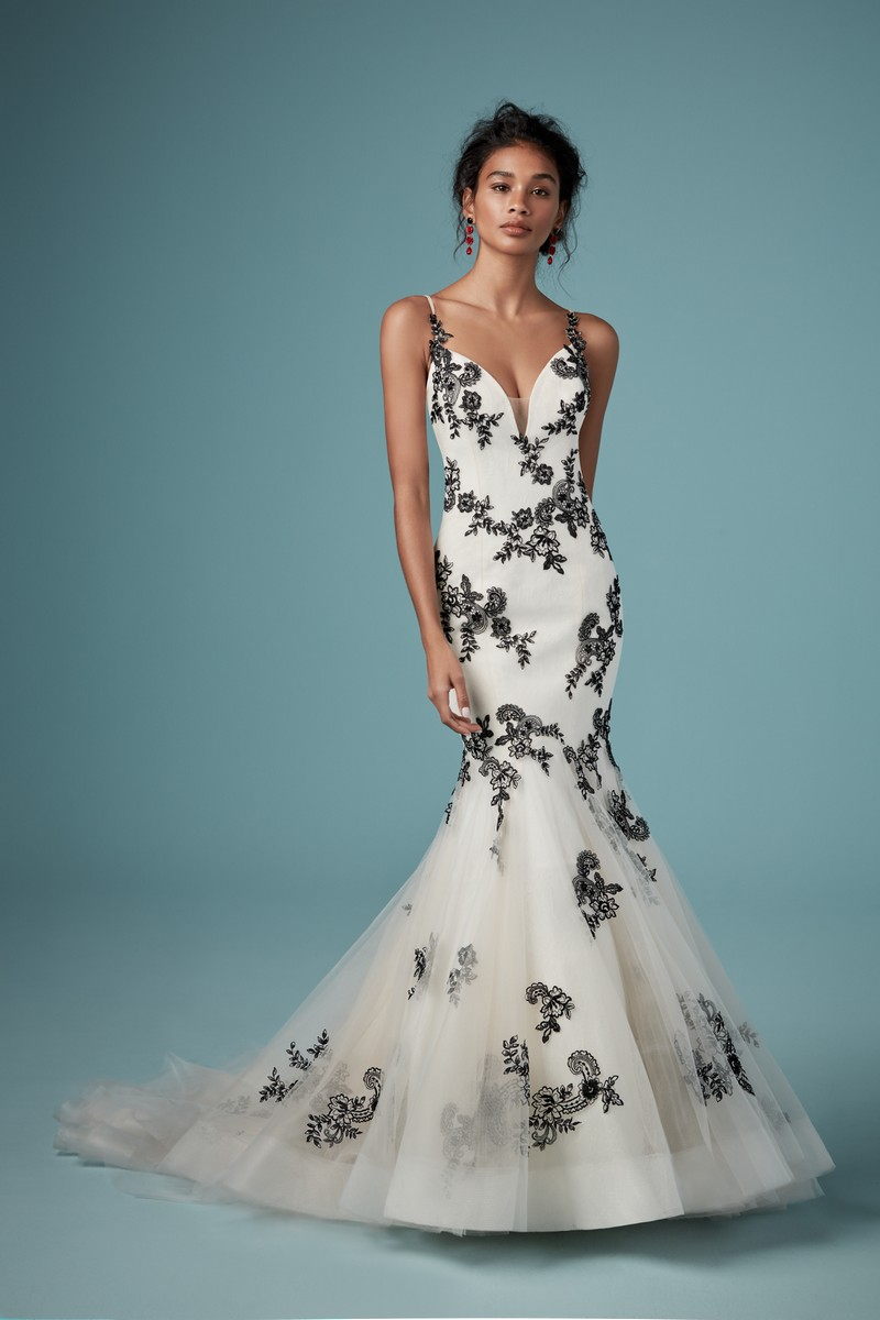 Ally Wedding Dress in Black Over Antique Ivory from the Maggie Sottero Ambrose Fall 2019 Bridal Collection