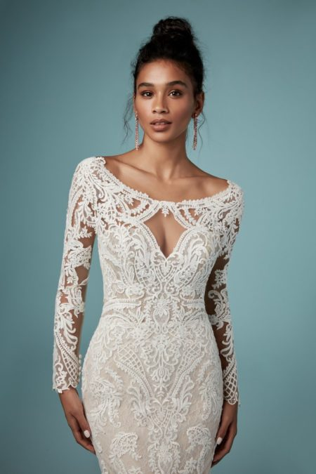 Detail on Cheyenne Wedding Dress from the Maggie Sottero Ambrose Fall 2019 Bridal Collection