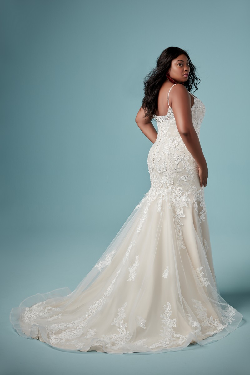 Back of Glorietta Lynette Plus Size Wedding Dress from the Maggie Sottero Ambrose Fall 2019 Bridal Collection