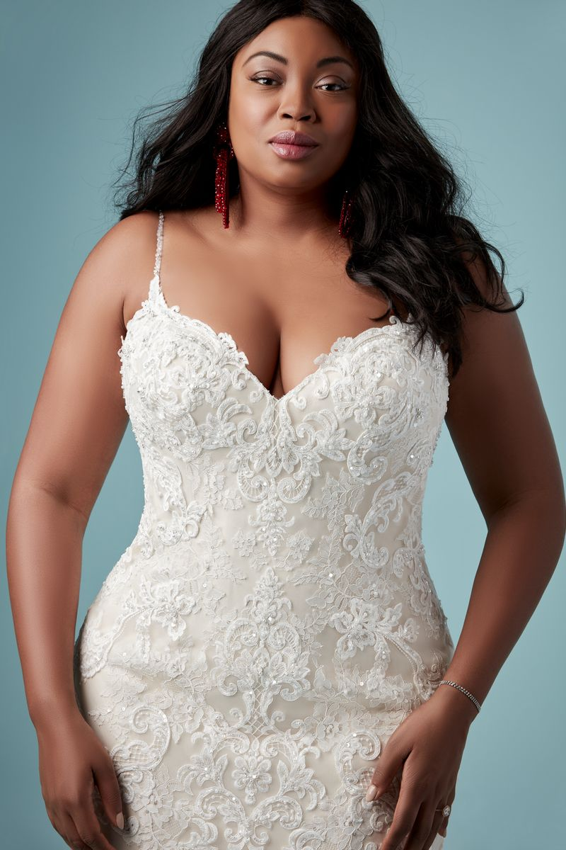 Detail on Glorietta Lynette Plus Size Wedding Dress from the Maggie Sottero Ambrose Fall 2019 Bridal Collection