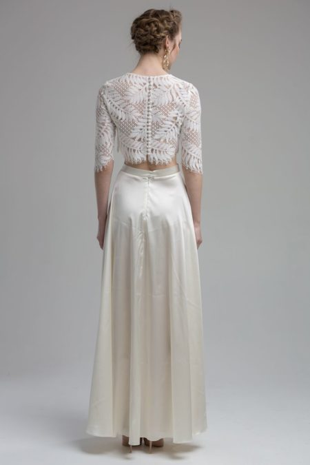 Back of Logan Top with Terra Skirt from the KATYA KATYA Wanderlust 2018-2019 Bridal Collection