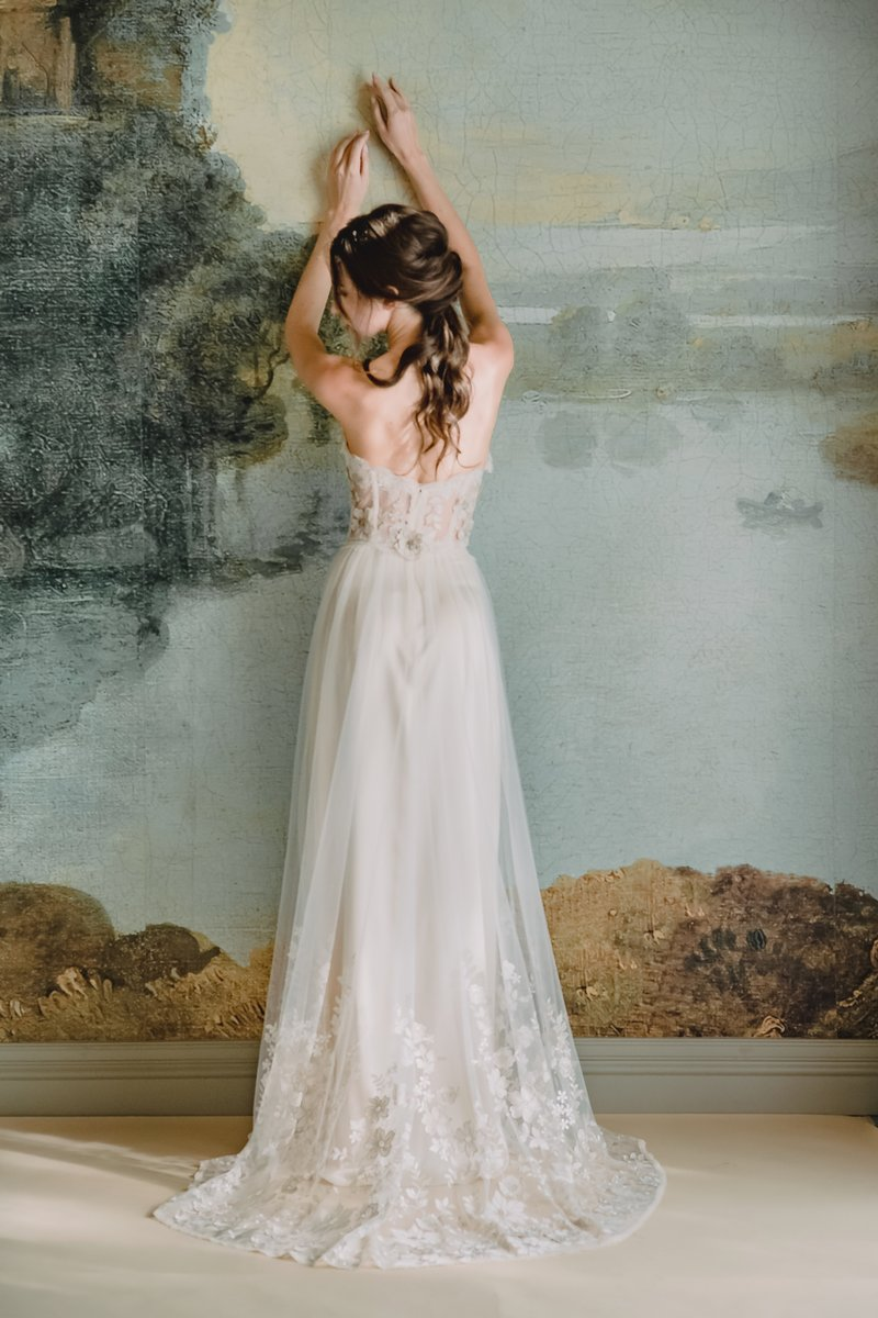 Back of Lucinda Wedding Dress from the Claire Pettibone Timeless Bride 2019 Bridal Collection