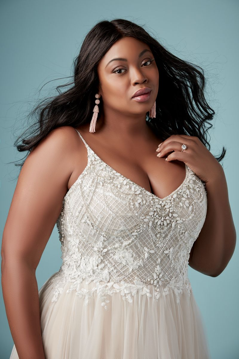 Detail on Matilda Lynette Plus Size Wedding Dress from the Maggie Sottero Ambrose Fall 2019 Bridal Collection